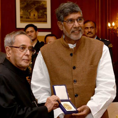 Mr. Kailash Satyarthi dedicating his nobel peace prize to the nation. He handed it over to the then hon'ble president of india shri. Pranab mukherjee at rashtrapati bhawan in januray 2015.