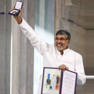 A jubilant Mr. Kailash Satyarthi after winning the Nobel Peace Prize