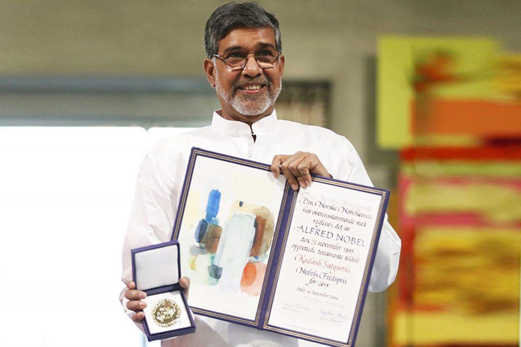 Kailash Satyarthi with Nobel Peace Prize History
