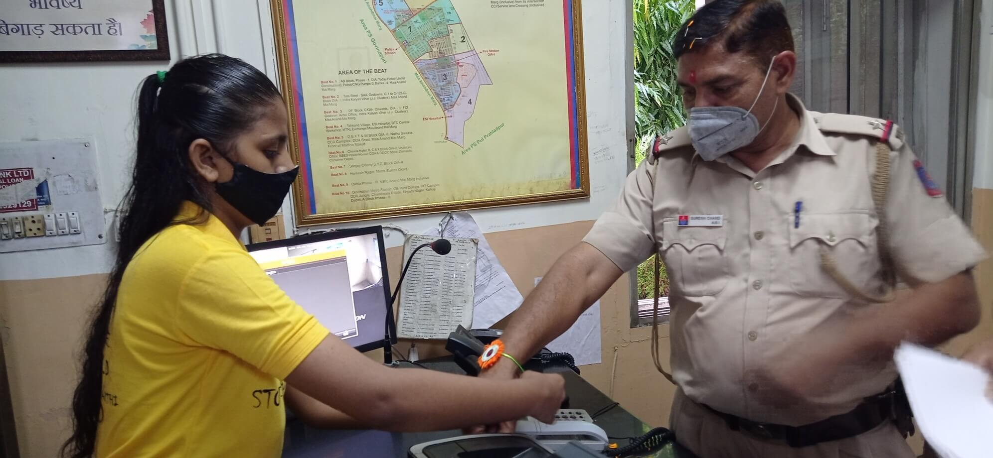 Rakhi with police under Bal Mitra Mandal programme