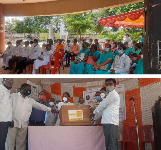 mh KSCF Distributes COVID-19 Kits in Rural Hospital of Solapur District, Maharashtra
